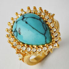 Mystic Womens 14K gold filled CZ Teardrop Turquoise Band Ring Size 7-9