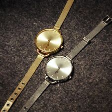 Gold Silver Lady Women Girl Bracelet Quartz Stainless Steel Wrist Watch Gift