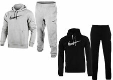 Mens NIKE Swoosh Fleece Tracksuit Overhead Hoodie & Jogging Bottoms  GREY-BLACK