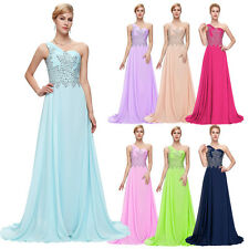 Sexy Beaded Formal Maxi Prom Bridesmaid Dress Long Chiffon Cocktail Evening Gown