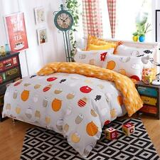 Single Queen King Size Bed Set Pillowcase Quilt Duvet Cover Cute Cats Kitty L