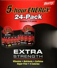 5 Hour Energy Extra Strength Berry Flavor Vitamins Sugar-Free, 24 or 12 Pack