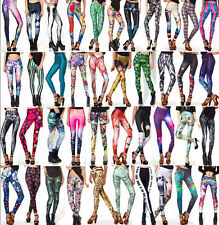 FREE SHIPPING Women Colorful Galaxy Print Leggings Stretchy Sexy Jeggings Pants