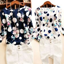 Korean Women Lady Polka Dot Floral Casual Office  Long Sleeve O-Neck Top Blouse