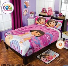 New Girls Bedding NICKELODEON DORA THE EXPLORER FLORAL Pink Fuzzy Fleece Blanket
