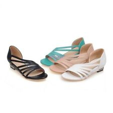 Roman Open Toe Strappy Low Wedge Heel Casual Womens Sandal Shoes US Size 3-12.5
