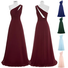 ST One Shoulder Chiffon Bridesmaid Long Gown Evening Prom Party Dress Wedding