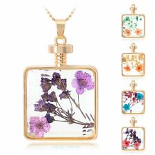 Real Floating Dried Pressed Flower Necklace Square Glass Locket Pendant Amazing