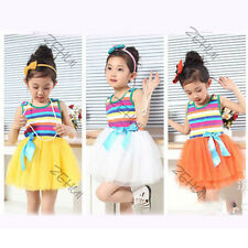 Baby Girls Party Princess Dress Stripes Vest + Tulle Skirt Toddler Clothes 2-6Y