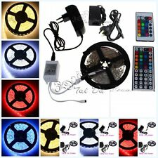 5M SMD 3528 5050 RGB White 300LEDs LED Strip Lights 12V Power Supply IR Remote