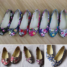 Ladies Womens Floral Printed Ballerina Ballet Dolly Pumps Loafers Flat Shoes New