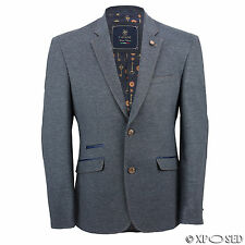 Mens Slim Fit Smart Casual Blue Stretch Blazer Designer Style Elbow Patch Jacket