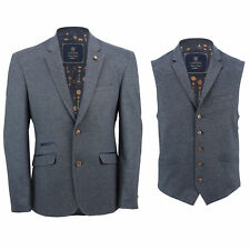 Mens Blue Stretch Smart Vintage Fitted Designer Blazer Jacket or Waistcoat Vest