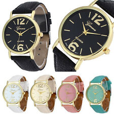 Geneva Watch Fashion Womens Mens Lover Leather Strap Analog Quartz Wrist Watches