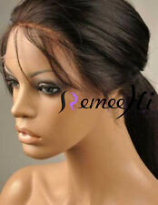 "Soft 10""-22"" 100% Indian Remy Human hair Silky Straight Lace Front Wig Full Wigs"
