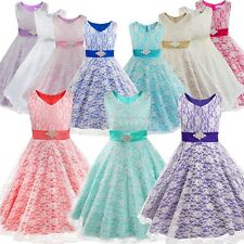 Flower Girl Floral Lace Formal Wedding Bridesmaid Party Pageant Princess Dresses