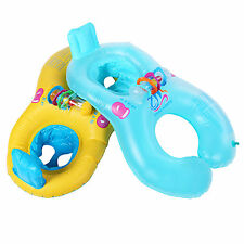2 Colors Inflatable Mother Baby Pool Swim Ring with Seat Floaties Swimming Aid