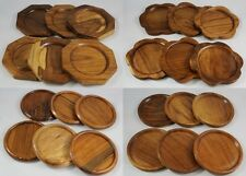6 Pcs Teak Coasters Saucers Cup Wooden Handcraft  Vintage Handmade Glass Mug New