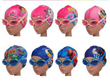 cartoon images Children's waterproof fog goggles + swimming cap suit