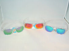 CHOOSE REVO LENS  COLOR  CLEAR PLASTIC FRAME WAYFARER SUNGLASSES SPRING TEMPLES