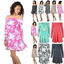 Women Ladies Floral Polka Dot 50's Style Bardot Off The Shoulder Swing Dress Top