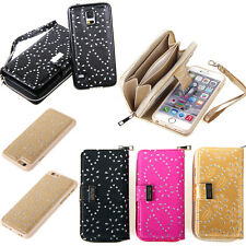 Magnetic Leather Flip Zipper Wallet Card Holder Case Cover for iPhone 6 6S Plus