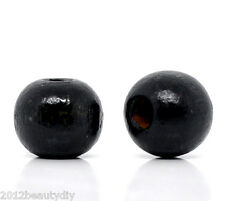 Wholesale Black Dyed Round Wood Spacer Beads 10x9mm
