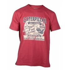 CAT Lifestyle FUEL SYSTEM Mens Casual Comfort Printed Patterned T-Shirt Red