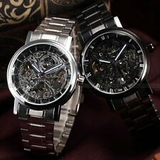 Fashion Stainless Steel Analog Sport New Skeleton Automatic Mechanical Watch