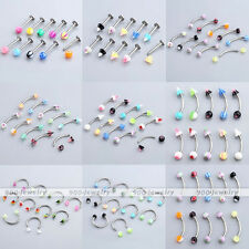 10pcs Mix Colors UV Glue Steel Lip Eyebrow Nose Stud Ball Cone Rings Piercing