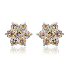 Statement Womens White gold filled lucky Flower rainbow crystal stud earrings