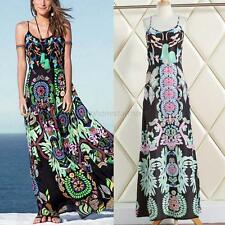 Lady Chiffon Floral Bohemian Summer Beach Maxi Dress Long Strappy Swing Sundress