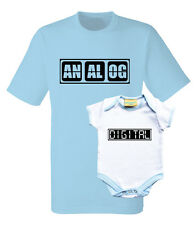 Father and baby set. T-shirt and baby grow with text analog and digital.
