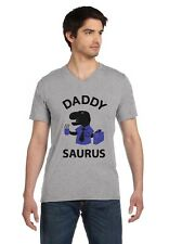 Daddy Saurus Gift for Fathers T-REX Dad Funny V-Neck T-Shirt Father's Day Gift