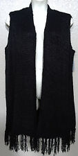 (NWD) Melissa McCarthy Seven7 Black Plus Sizes 2X/3X Fringed Long Sweater Vest
