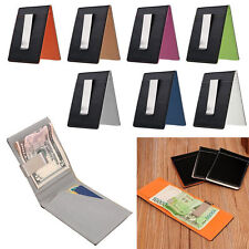 New Colors Slim Leather Money Clip Wallet Black ID Credit Card Holder Purse