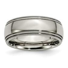 Chisel Titanium Grooved and Beaded Edge 8mm Polished Band Ring TB135