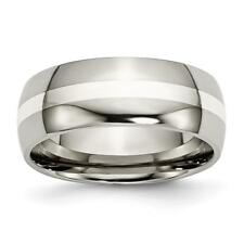 Chisel Titanium Sterling Silver Inlay 8mm Polished Band Ring TB212