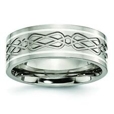 Chisel Titanium Sterling Silver Inlay Celtic Knot Flat 8mm Polished Band Ring TB