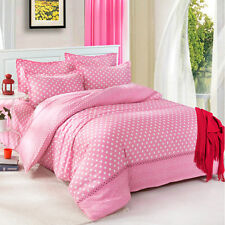 Pink Dots Single Double Queen King Size Bed Set Pillowcases Quilt Duvet Cover L