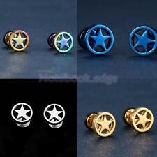 1 Pair of Fashion Punk Stainless Steel Circle Five-pointed Star Earrings Studs