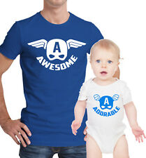 Father and baby set. T-shirt and baby grow. Captain America Awesome and Adorable