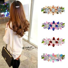 Fashion Flower Full Crystal Rhinestones Barrette Hair Clip Hairpin Accessories