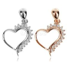 Heart 925 Sterling Silver Rhinestone Necklace Pendant Jewelry Gift for Girls