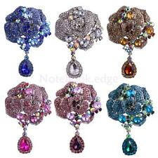 Silver Plated Large Flower Brooch Rhinestone Crystal Wedding Bridal Broach Pin