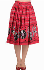 Banned Empower 1950s Rock n Roll Red Skirt Vintage Rockabilly Swing Retro New