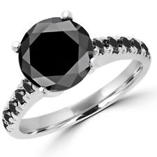 3.55 CT ROUND CUT BLACK DIAMOND SOLITAIRE ENGAGEMENT RING 14K WHITE GOLD