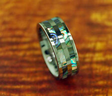 Flat 8mm Tungsten Carbide Ring w/Double Abalone Row Unisex Wedding Ring NEW