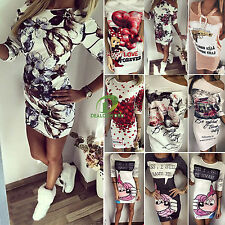 Womens Boatneck Printed Party Evening Clubwear Bodycon Short Mini Tunic Dresses