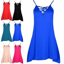 Ladies Sleeveless Camisole Swing Dress Floaty Flare Strappy Eyelet Long Top 8-26